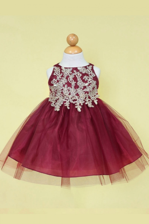 897179188b8 Girls Dress Style B778 - BURGUNDY-GOLD - Embroidered Bodice with Tulle Skirt