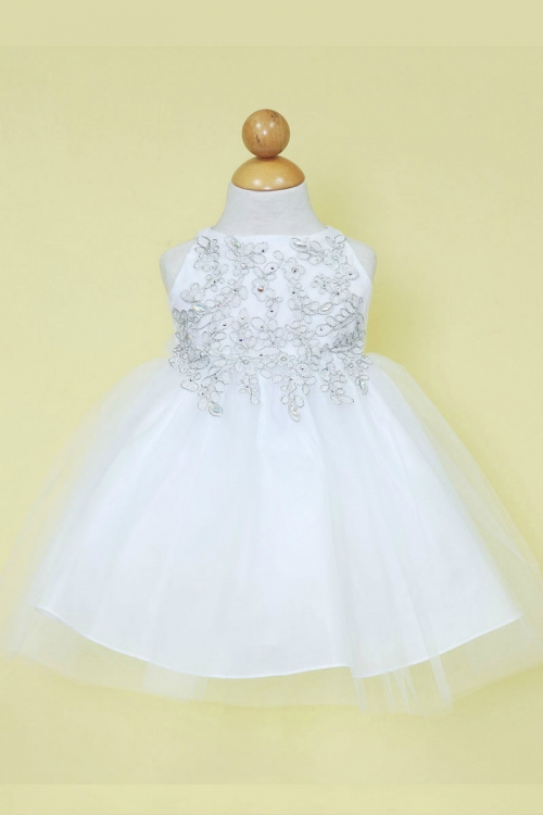 Cab778wsv girls dress style b778 white silver embroidered girls dress style b778 white silver embroidered bodice with tulle skirt mightylinksfo