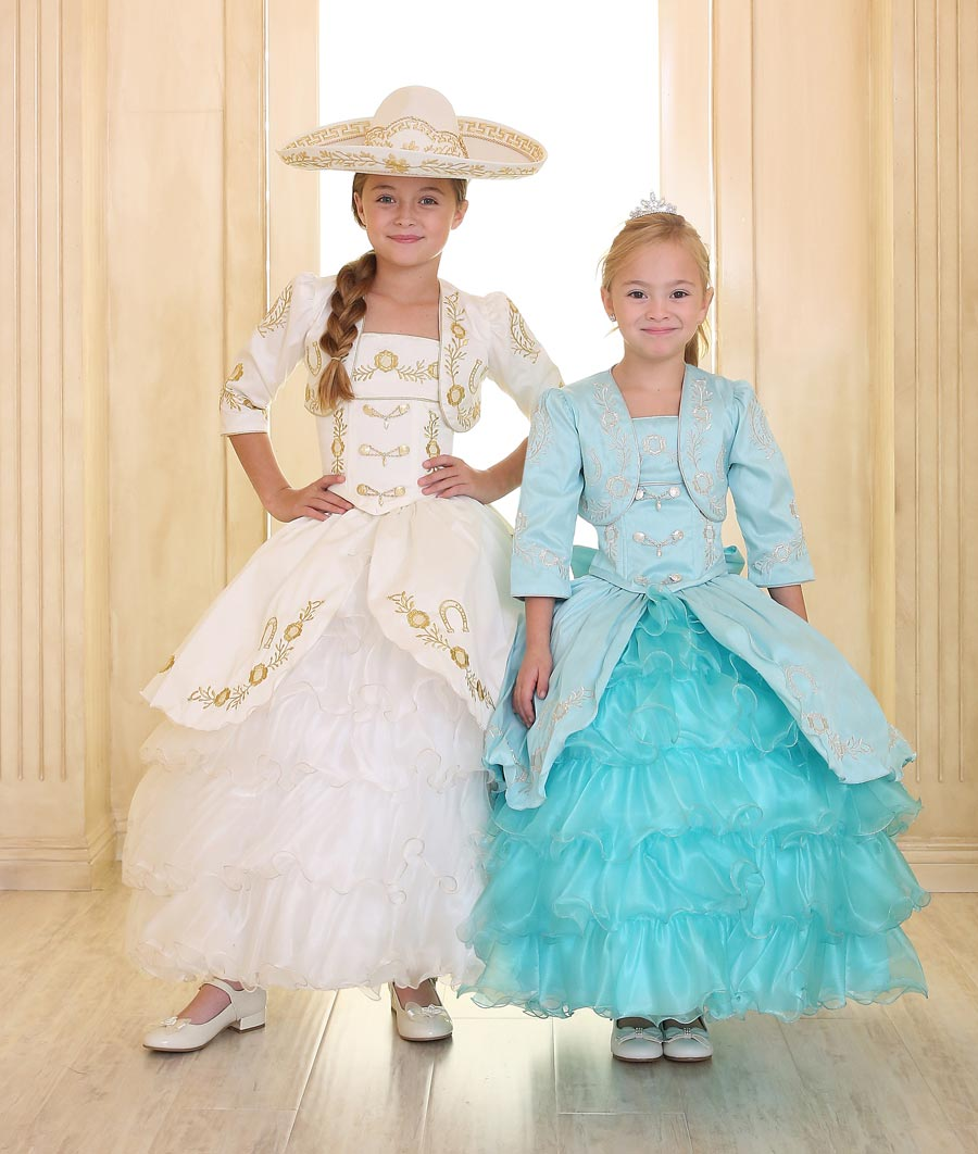 CA_CHARRA-IVGD - Girls Dress Style CHARRA - IVORY-GOLD Long Sleeve ...