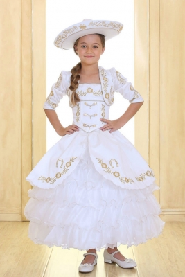 Gold flower girl dresses flower girl dress for less girls dress style charra white gold long sleeve satin and organza embroidered dress with mightylinksfo Gallery
