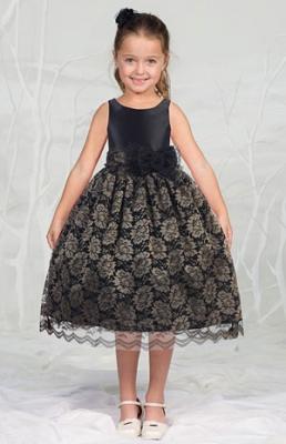 Black Flower Girl Dress