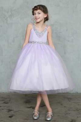 d3a5e5053e9 Girls Dress Style D768 - LILAC - Sequin V- Neck Satin and Tulle Dress