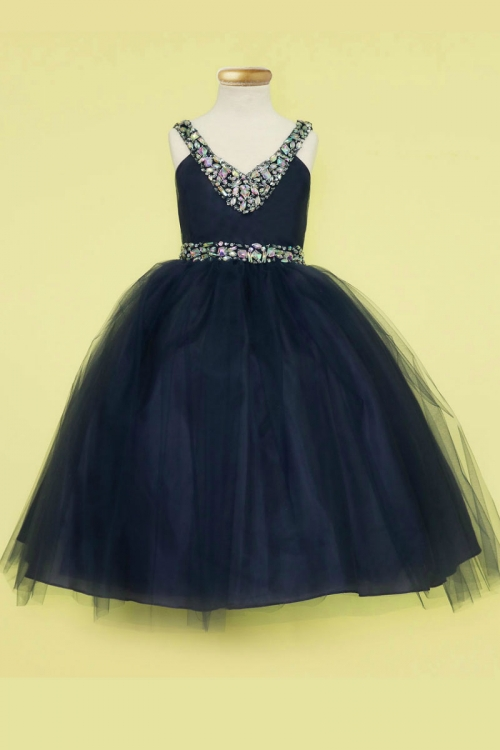 cfbcac30e36 Girls Dress Style D768 - NAVY BLUE - Sequin V- Neck Satin and Tulle Dress