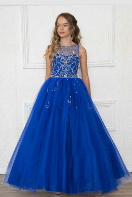 ... Royal Blue or Blush. Girls Dress Style KY203 - Sleeveless Tulle Dress  with Rhinestone Illusion Bodice in Choice of Color 3b1a20728