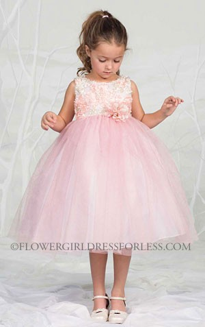 Girls Dress Style M902- Peach-pink Sleeveless Tulle Dress With Floral M902
