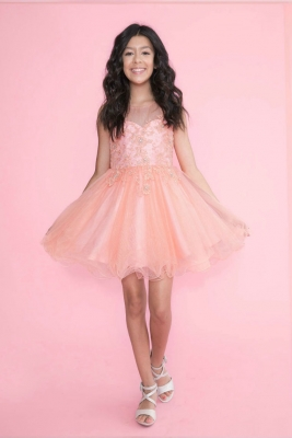 b772f86c808 Girls Dress Style TY002 - Chiffon Dress with Illusion Neckline and Jeweled  Bodice in Choice of