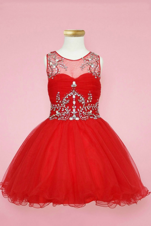 CA_TY003R - Girls Dress Style TY003 - RED Beautifully Beaded Short ...