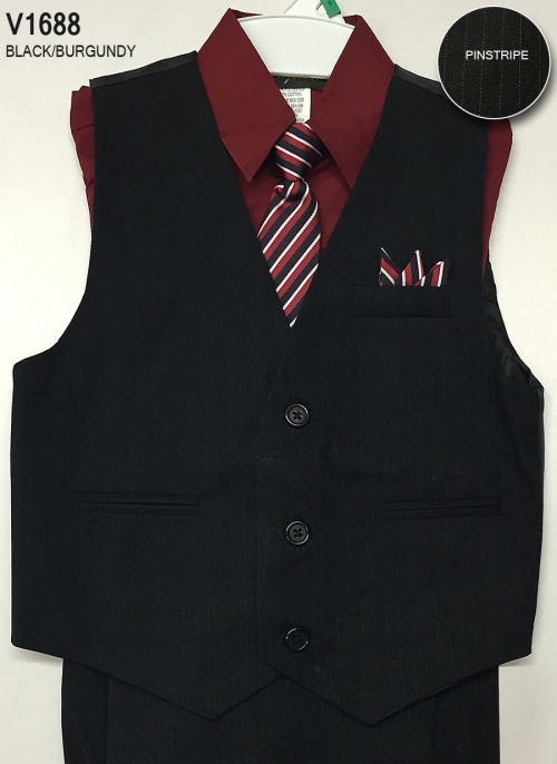 Cav1688bur Boys Vest Set Style V1688 Burgundy Shirt With Black