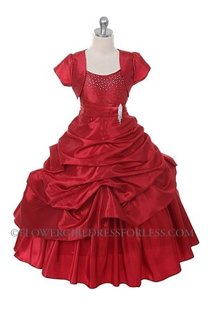Cb 0308r Girls Dress Style 0308 Red Satin Spaghetti