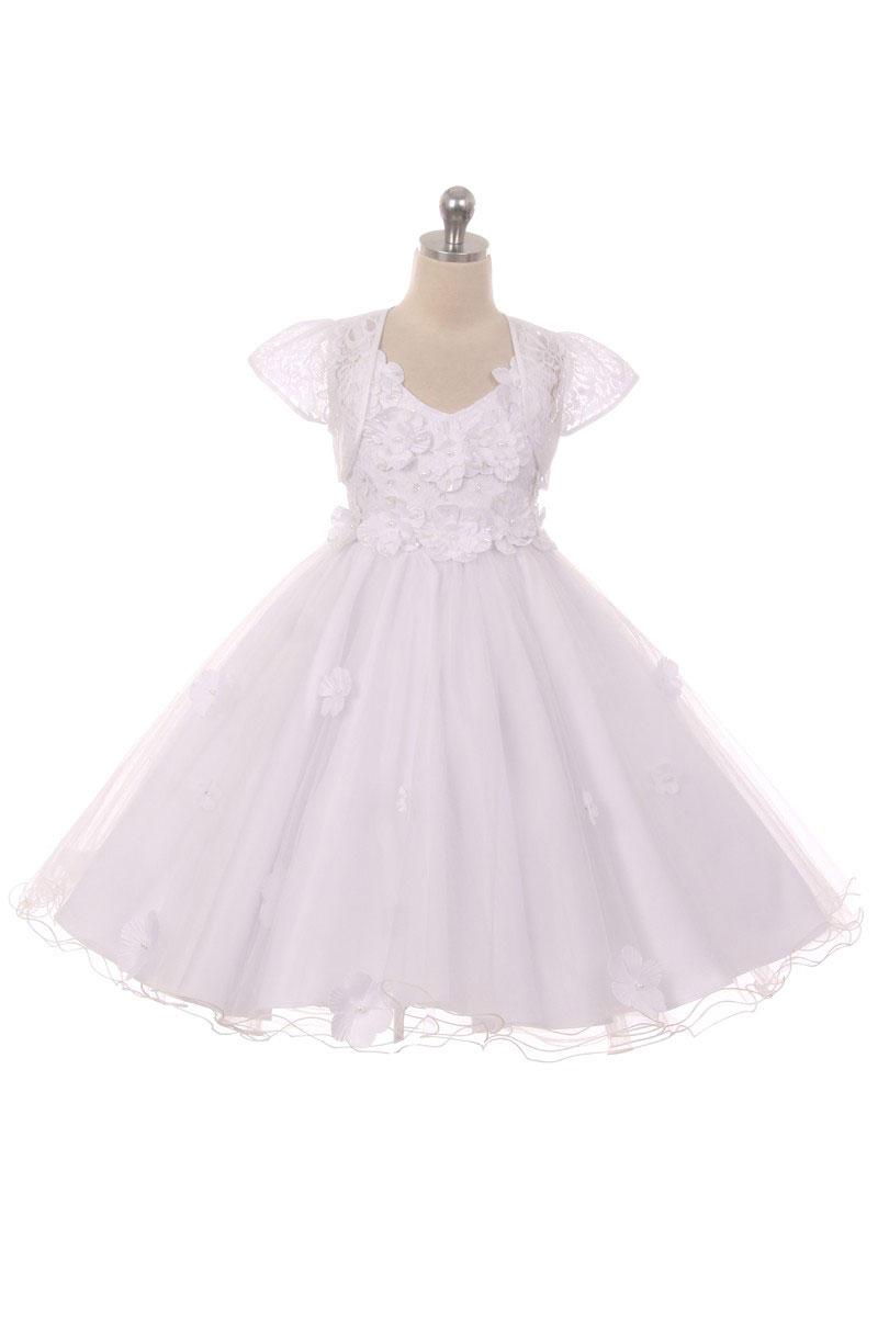 CB 1702W Girls Dress Style 1702 Floral Embellished High Low Dress in Choic