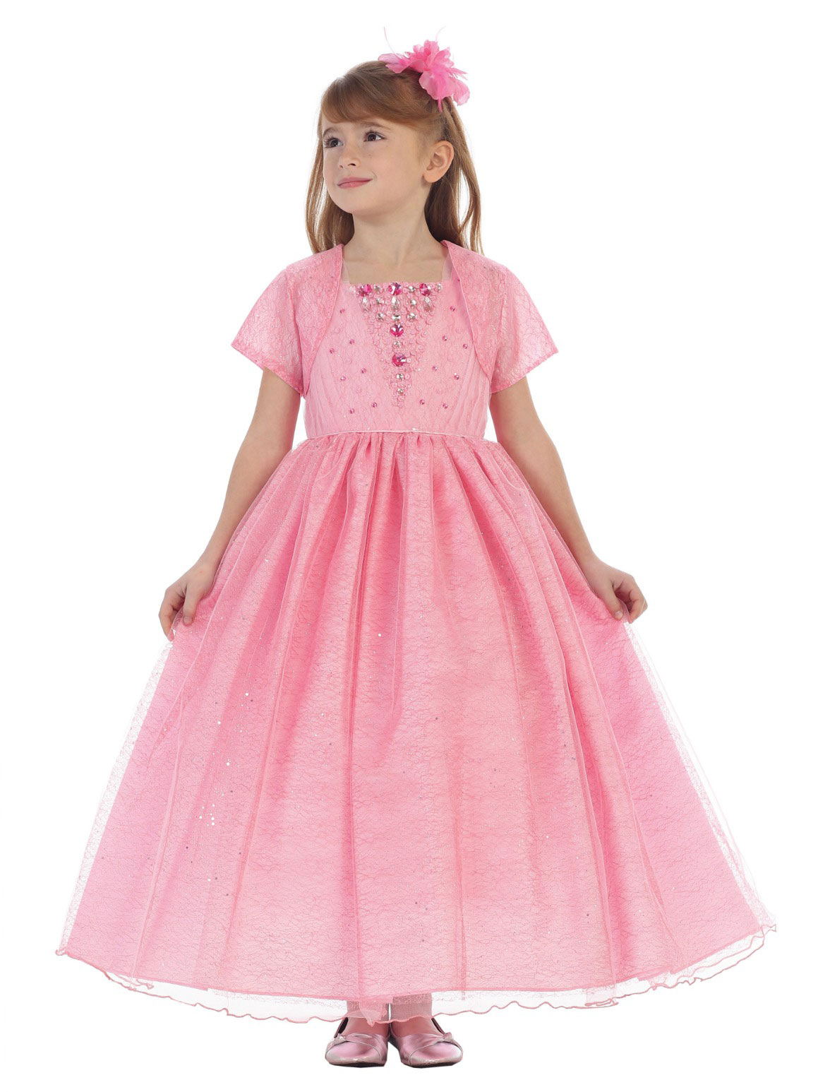 CB 1703P Girls Dress Style 1703 Sleeveless Tulle and Beaded Dress in Choic