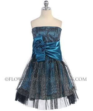 Cb J003tl Tween Girls Dress Style J003 Teal Sleeveless
