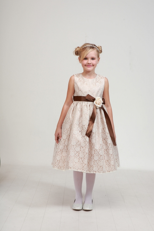 f25e4880b4 Girls Dress Style 1132- CHAMPAGNE Dress with BROWN Sash and IVORY Flower