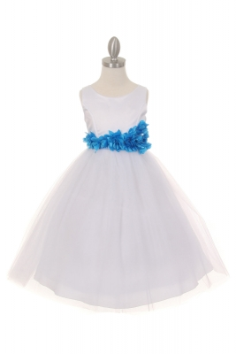 ef91e9eead5f Girls Dress Style 1170-4 - Choice of White or Ivory Dress with TURQUOISE  Flower
