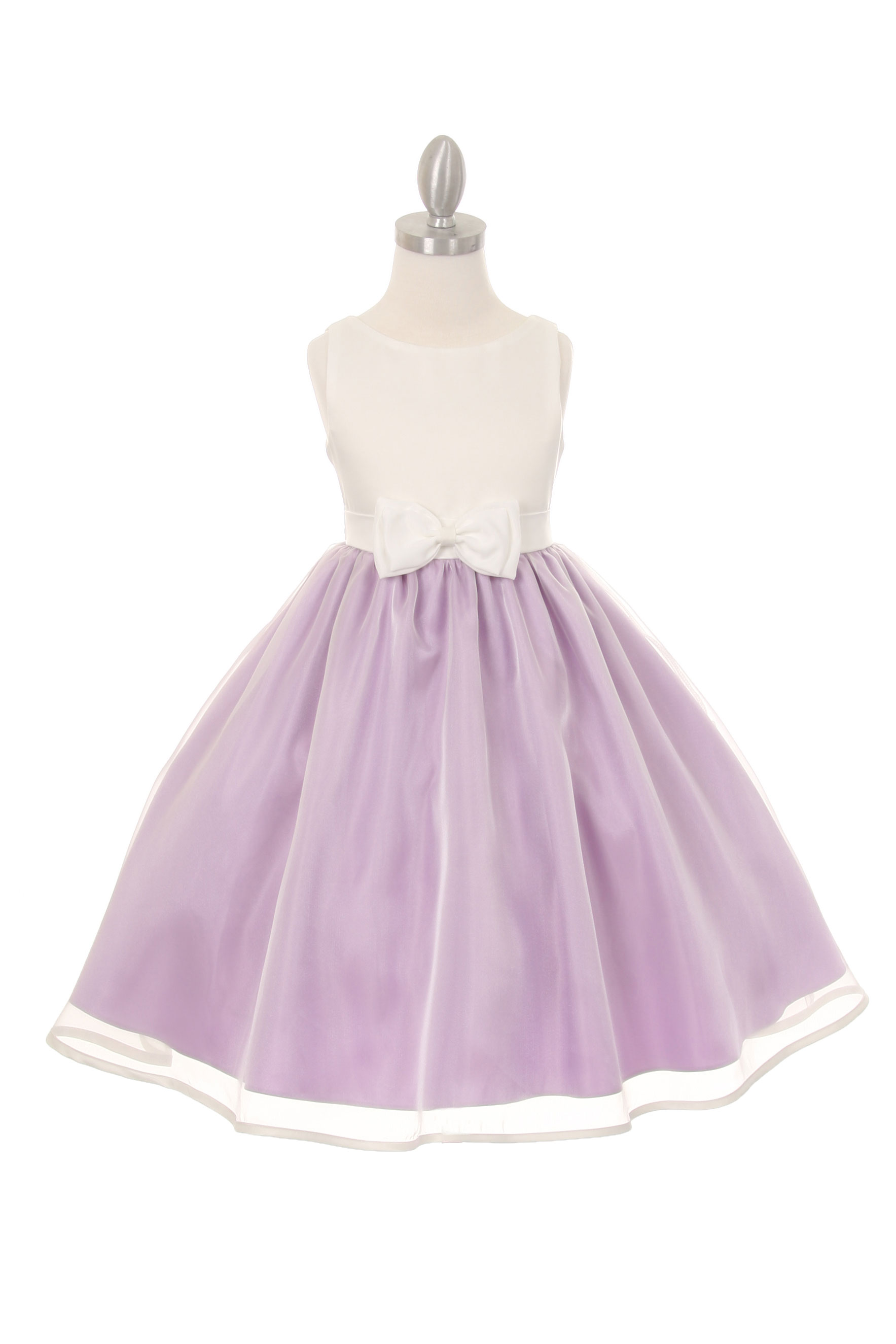 CC 1182IVL Girls Dress Style 1182 Sleeveless Organza Dress with Front Bow