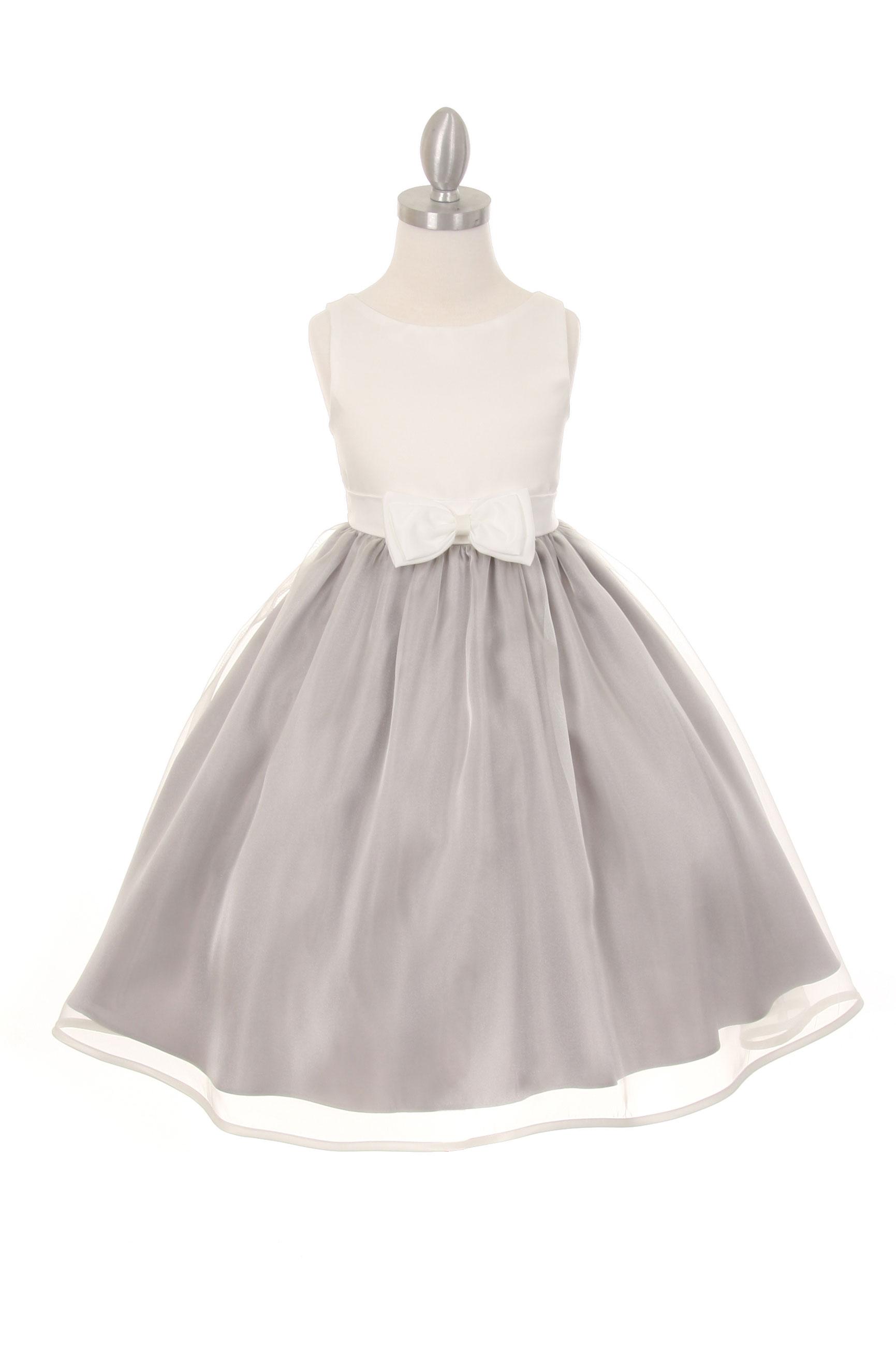 CC 1182IVSV Girls Dress Style 1182 Sleeveless Organza Dress with Front Bo