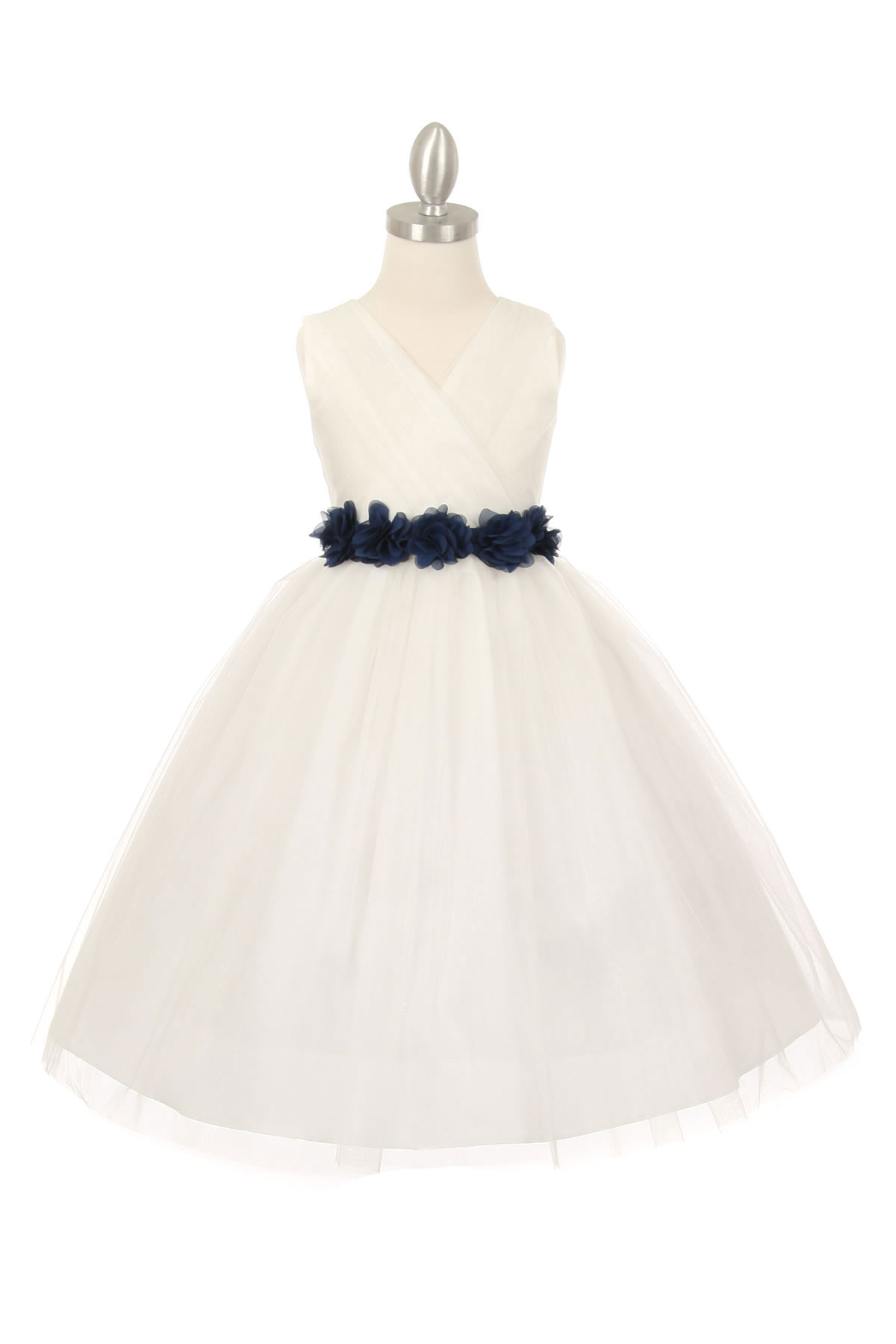 CC 1220IVNV Girls Dress Style 1220 IVORY Dress with 14 Sash Options See