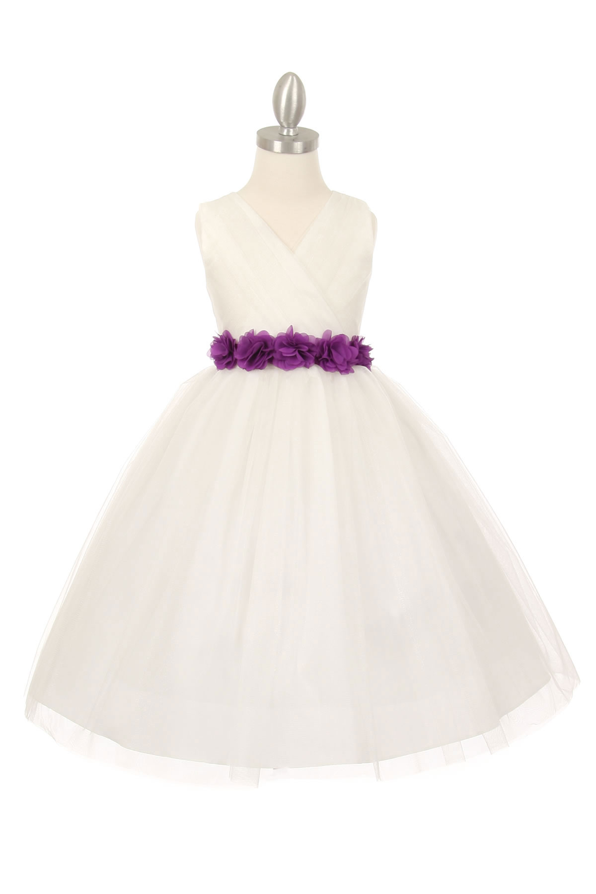 CC 1220IVPUR Girls Dress Style 1220 IVORY Dress with