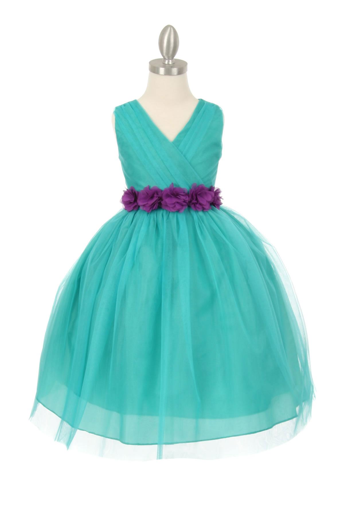 CC 1220JDPUR Girls Dress Style 1220 JADE Dress with 14 Sash Options See
