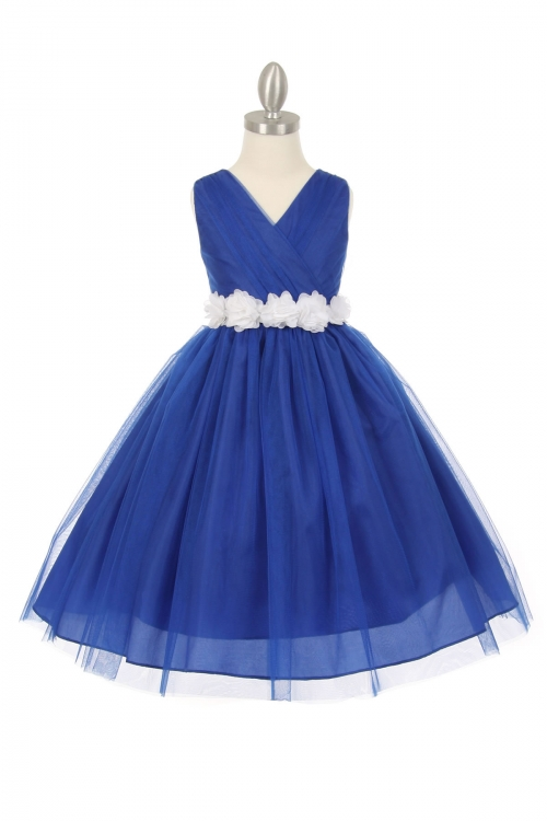 CC_1220RBWH - Girls Dress Style 1220 - ROYAL BLUE Dress with 14 Sash ...
