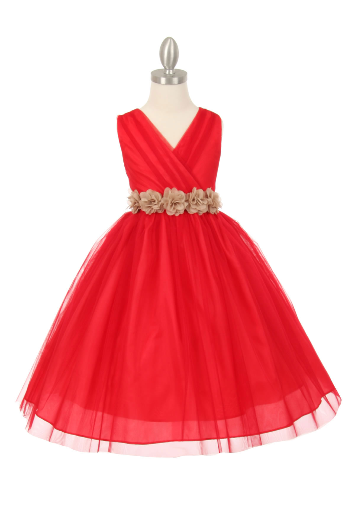 CC 1220RDCH Girls Dress Style 1220 RED Dress with 14