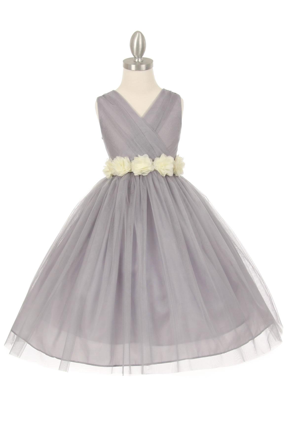 CC 1220SVIV Girls Dress Style 1220 SILVER Dress with 14 Sash Options Se