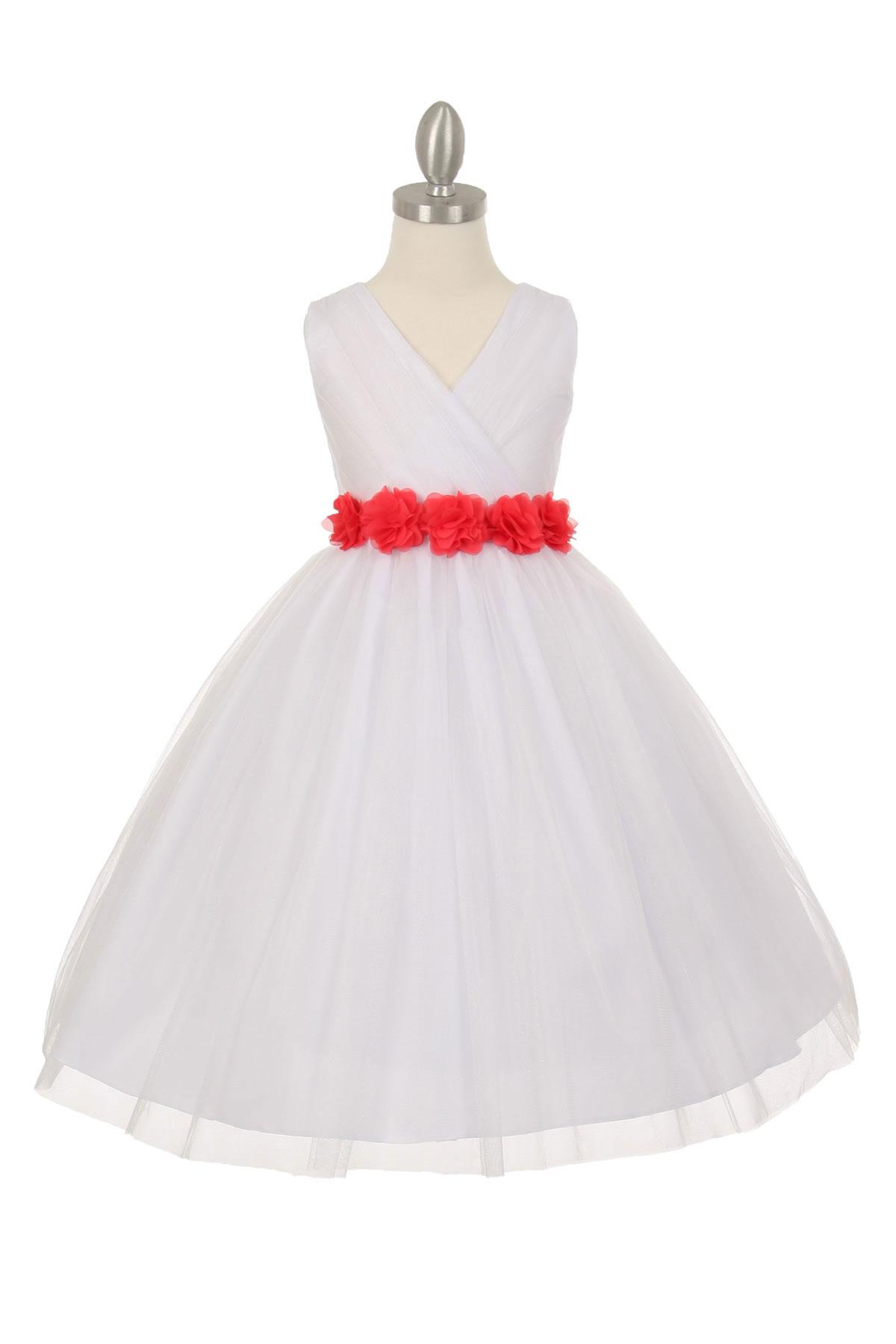 CC 1220WHCO Girls Dress Style 1220 WHITE Dress with 14 Sash Options Whi