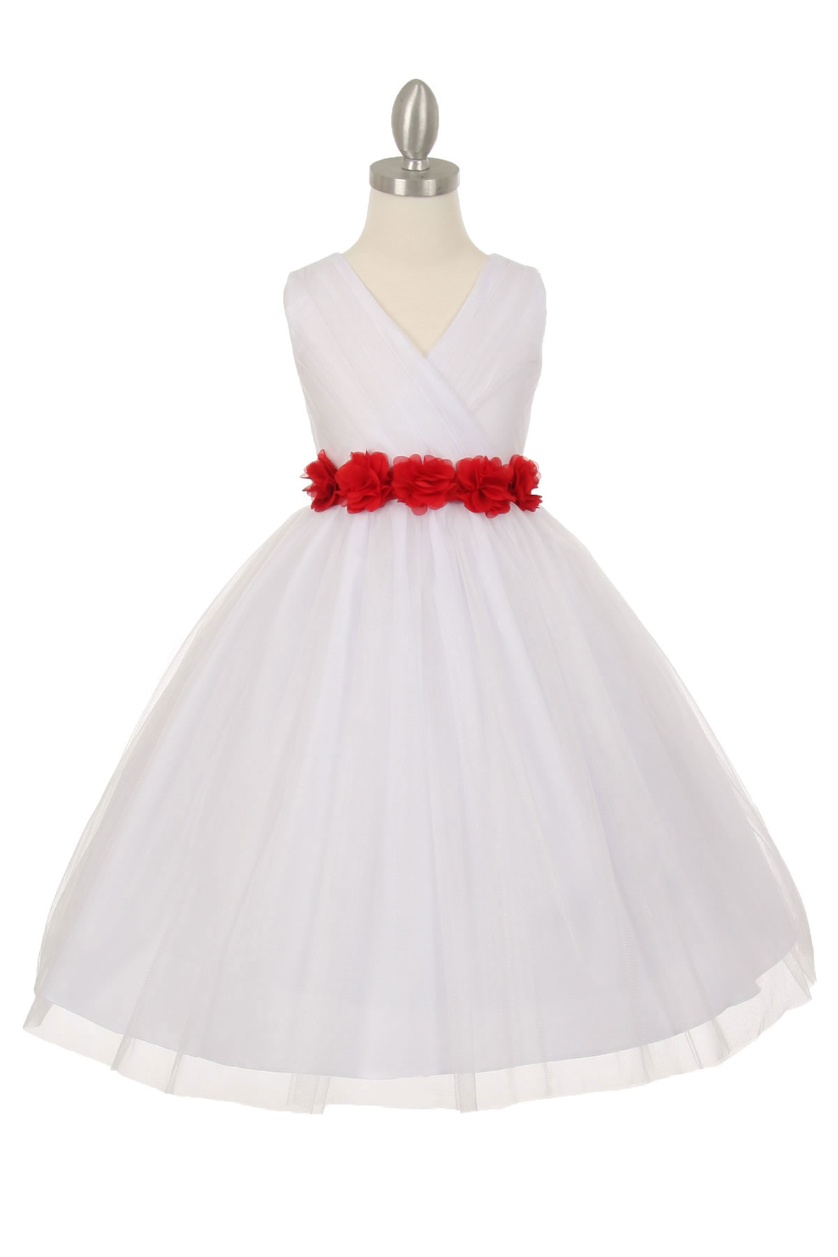 CC 1220WHRD Girls Dress Style 1220 WHITE Dress with 14