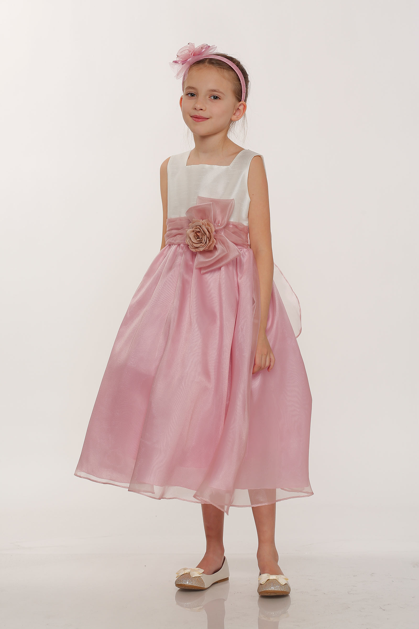 Cc 1225ivrs Girls Dress Style 1225 Ivory Rose Organza