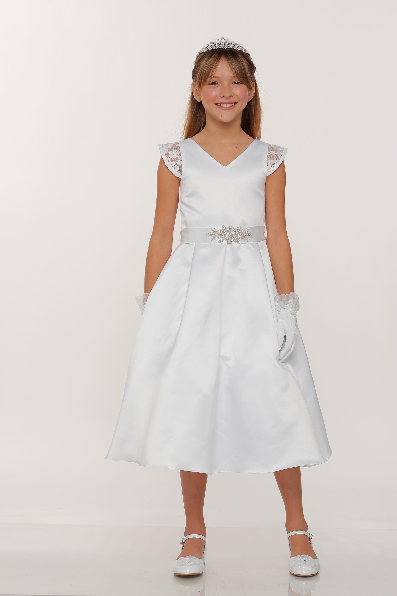 Cc 2009 Girls Dress Style 2009 White Cap Sleeve Satin