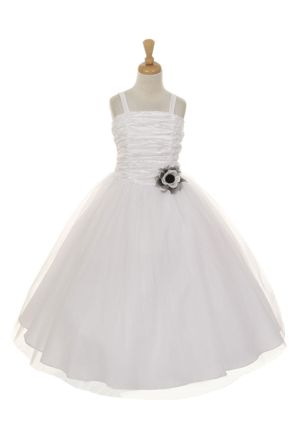 CC 4001W Girls Dress Style 4001 Spaghetti Strap Dress with Ruched Bodice