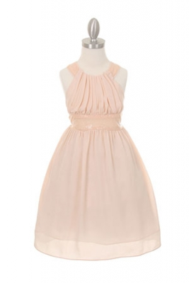 c506040b8ff Girls Dress Style 5004- BLUSH PINK Sleeveless Chiffon and Sequin Dress with  Cross Back