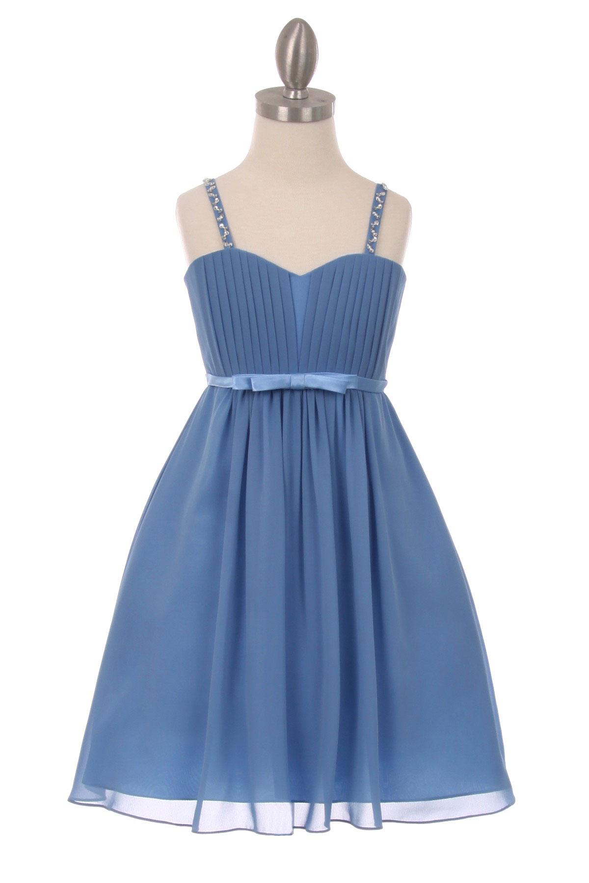 Cc 5012db Girls Dress Style 5012 Pleated Chiffon Dress