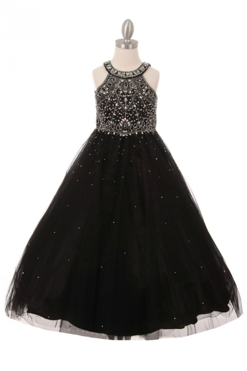 CC_5027B - Girls Dress Style 5027 - BLACK Beaded Gown with Keyhole ...
