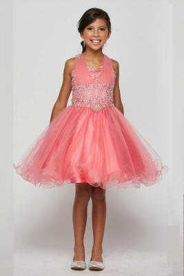 d743a42d178 Girls Dress Style 5046 - Short Beaded Dress in Choice of Color