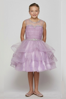 f8a842c6cd2 Lilac. Girls Dress Style 5050 - Short Beaded Illusion Neckline Dress in  Choice of Color