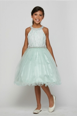 de67c81a989 Girls Dress Style 5052 - Short Halter Style Lace and Rhinestone Dress in  Choice of Color