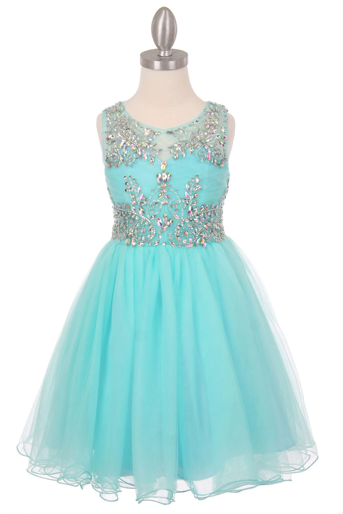 Cc 65007aq Girls Dress Style 65007 Aqua Sleeveless