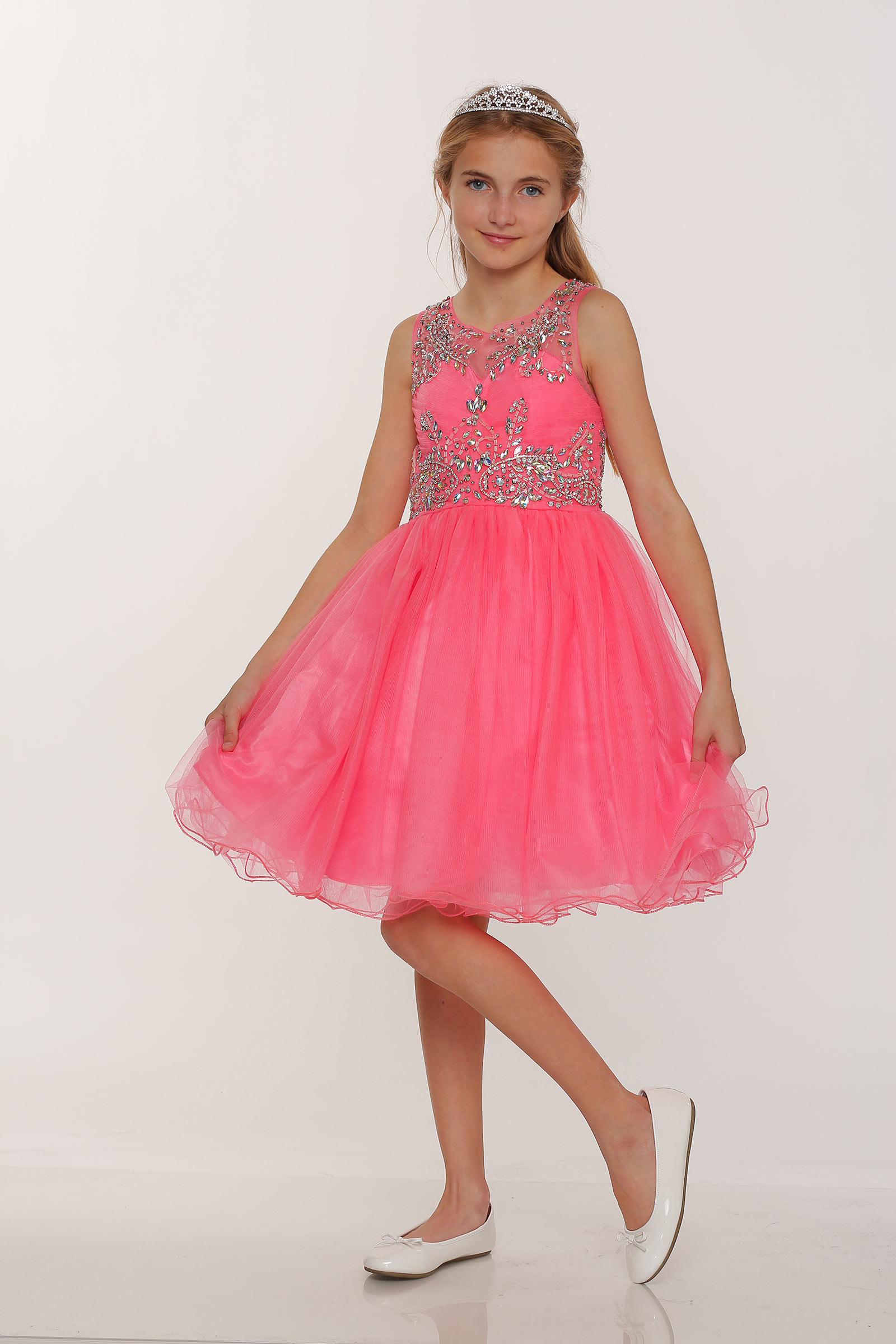 Cc 65007co Girls Dress Style 65007 Coral Sleeveless