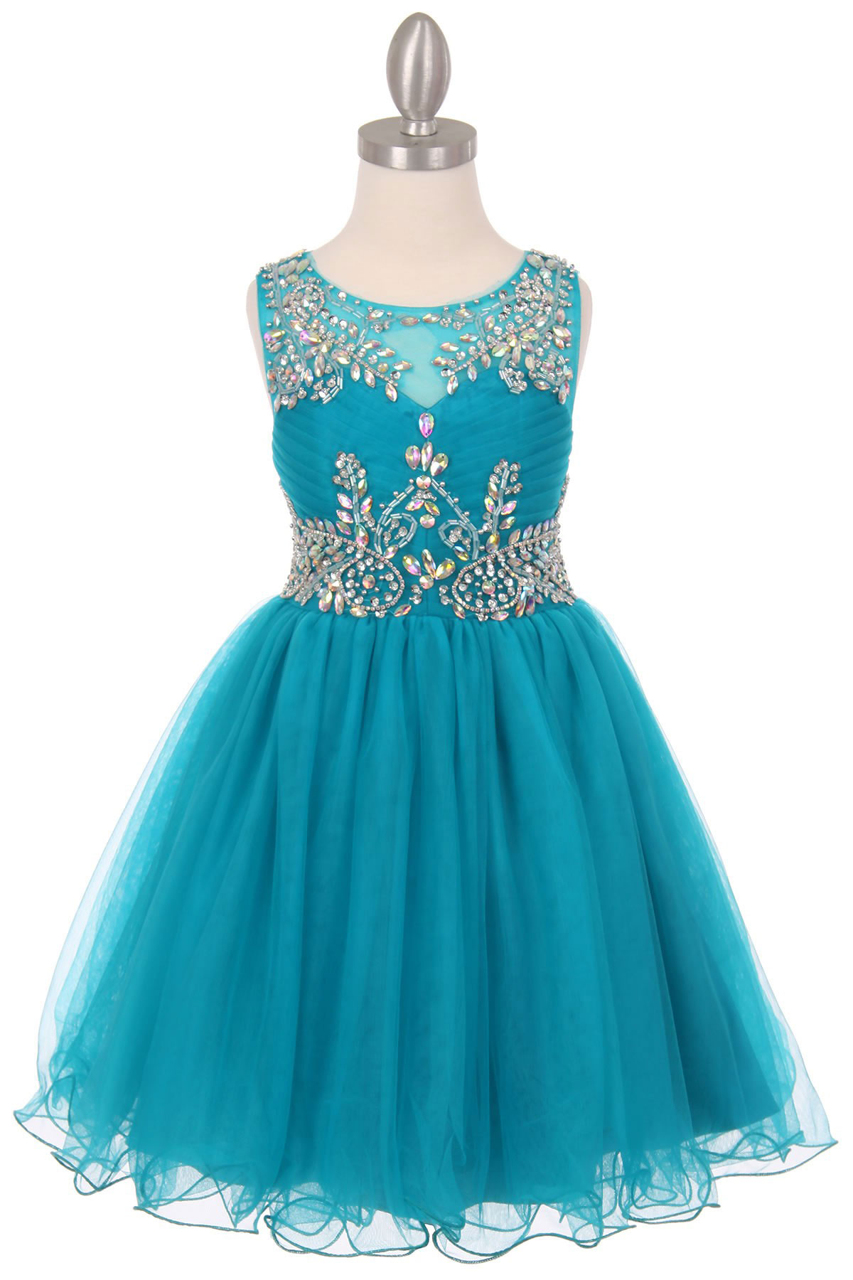 Cc 65007tl Girls Dress Style 65007 Teal Sleeveless