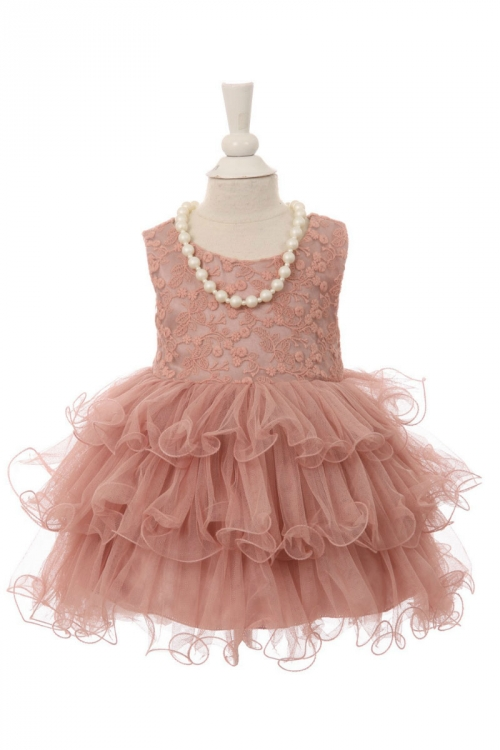 9badd458c CC_B9063MV - Girls Dress Style B9063 - Lace and Layered Tulle Dress in  Choice of Color - Rose - Flower Girl Dresses - Flower Girl Dress For Less