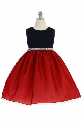 912caf1045 Girls Dress Style 360 - Sleeveless Velvet and Tulle with Sequin Belt Dress  in Choice of