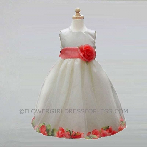 d725f10dd7 CK 596ICO - Flower Girl Dress Style 596- Ivory Petal Dress with Coral  Accents - Ivory Flower Girl Dresses - Flower Girl Dresses - Flower Girl  Dress For Less
