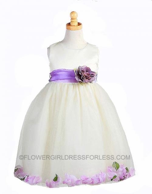 2f1ba4eb1e CK 596IPUR - Flower Girl Dress Style 596- Ivory with Purple Petal Dress -  Purple - Flower Girl Dresses - Flower Girl Dress For Less