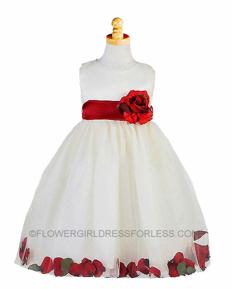 CK_596IR - Flower Girl Dress Style 596- Ivory with Red Petal Dress ...