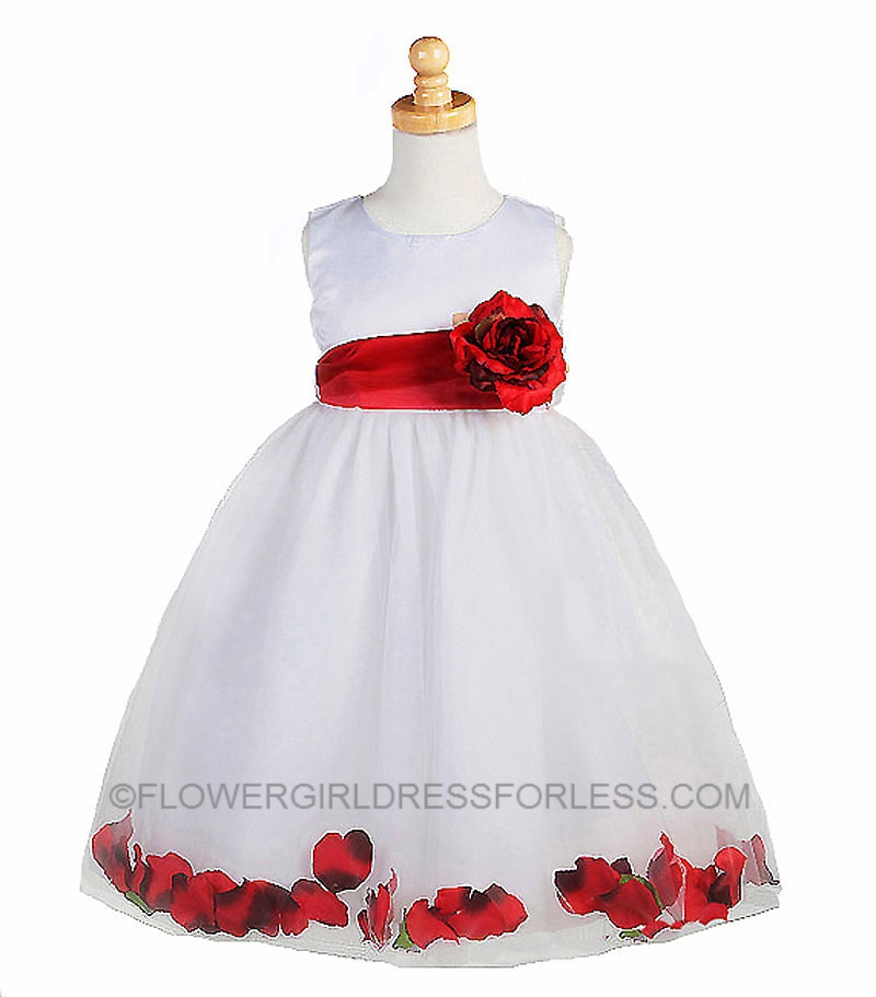 CK_596WR - Flower Girl Dress Style 596- White with Red Petal Dress ...