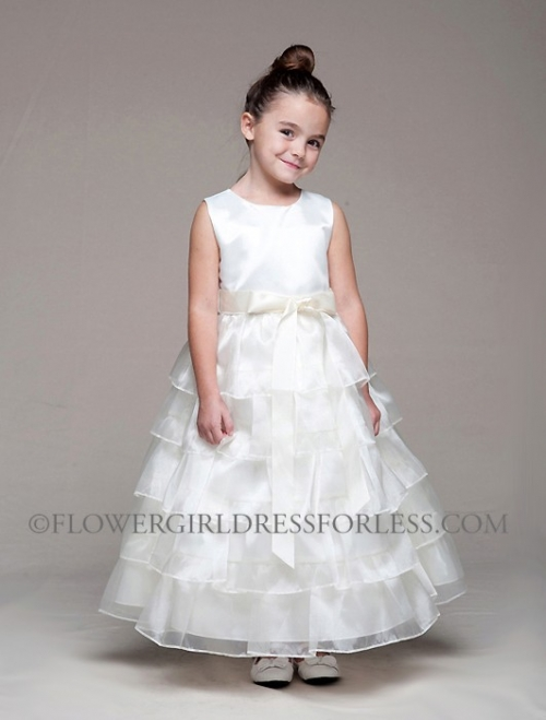 CK_882IV - Flower Girl Dress Style 882- Ivory Satin and Organza ...