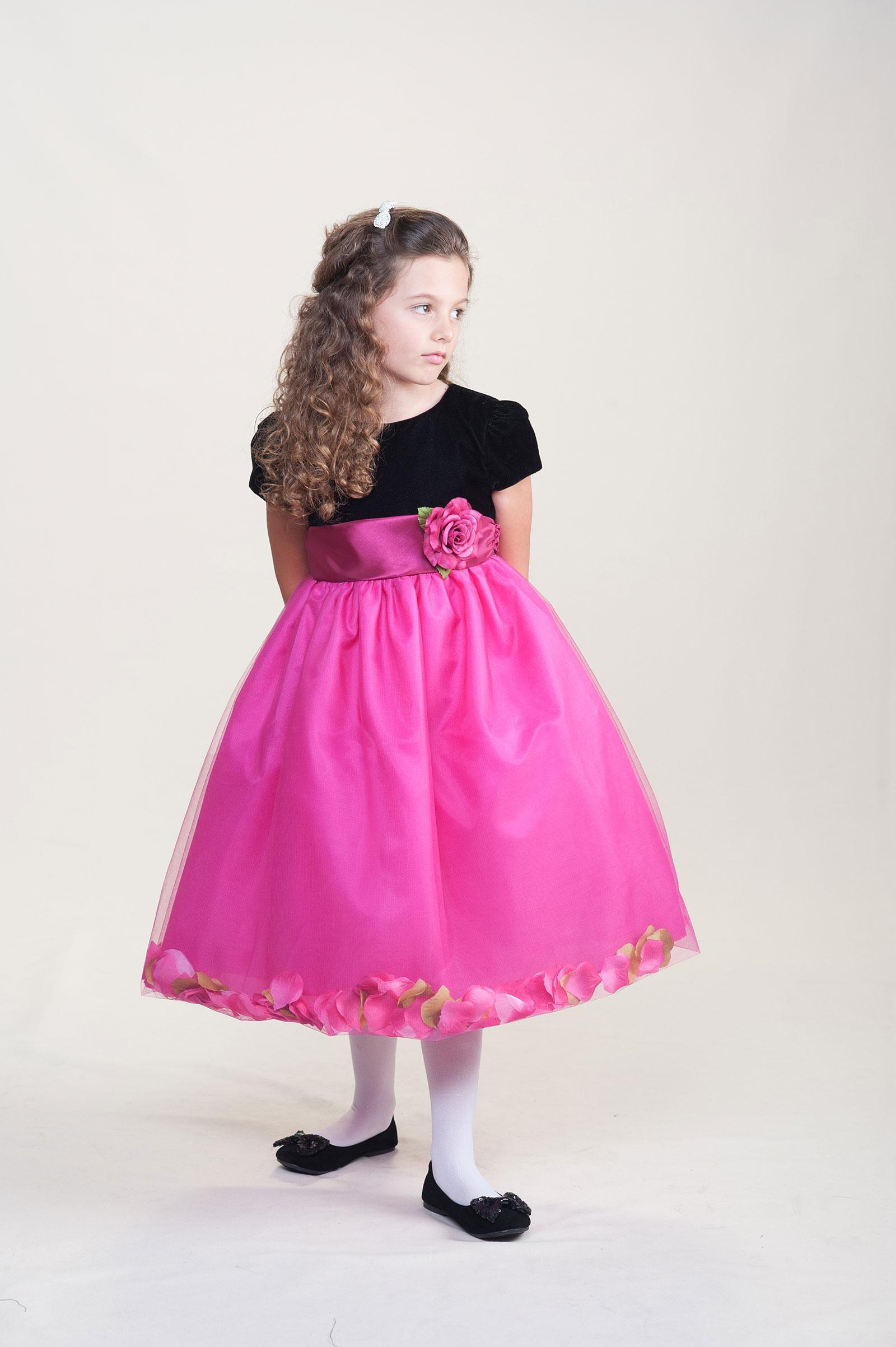 CK 973FUS Flower Girl Dress Style 973 Short Sleeve Petal Dress with Velve