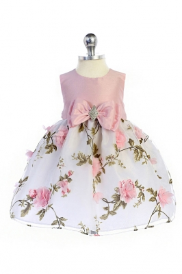 9ae36256c0d Girls Dress Style 365 - Sleeveless Satin and Floral Print Dress in Choice  of Color