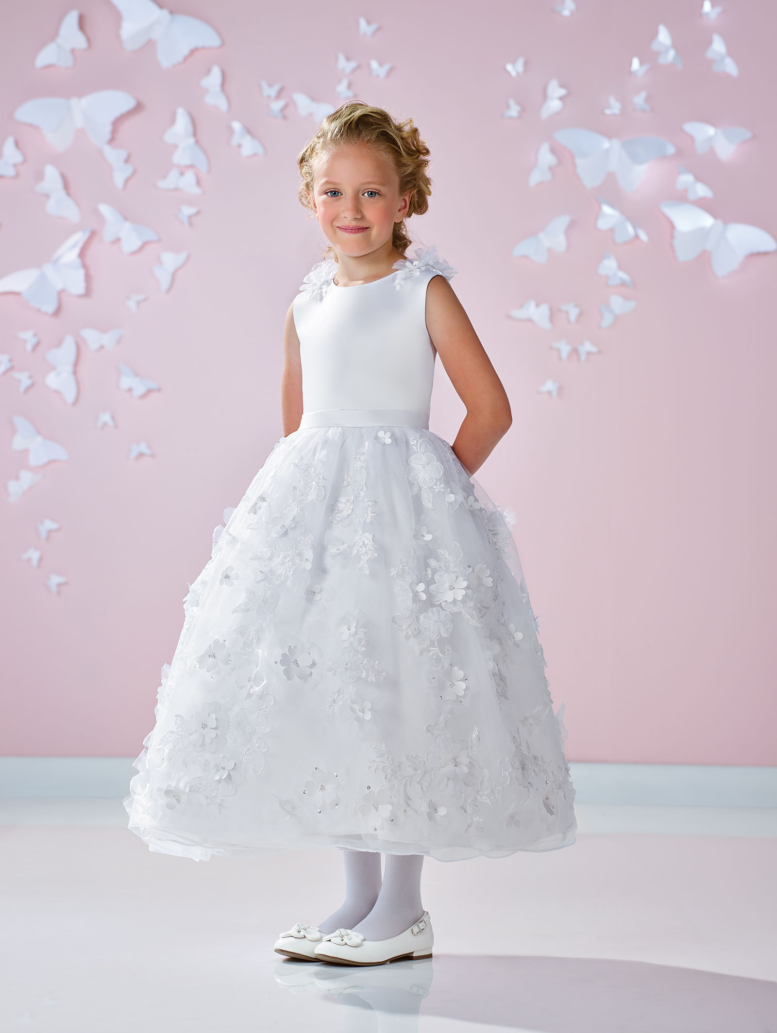JC W Joan Calabrese Style Satin and Tulle Dress with Embroid